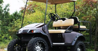 ezgo TXT electric golf cart with 5 inch axle drop lift